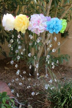 SAMPLE FLOWERS Crystal Baby Mobile Pink Baby by TheMobileMaven