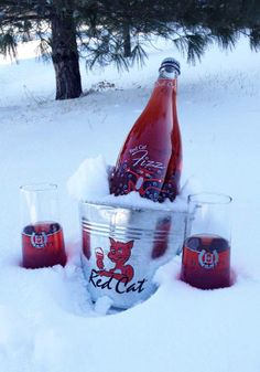 Red Cat Fizz is sure to warm you up on a snowy day! Drunk Girls, Red Cat, Snowy Day, Wine Tasting, Wines, Alcoholic Drinks, Warm, Food, Essen