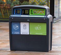 Unidad de reciclaje para zonas exteriores, con 3 aberturas codificadas por colores según conceptos de reciclaje. Arcade Games, Jukebox, Recycling Bins, Outer Space, Unity, Concept, Colors