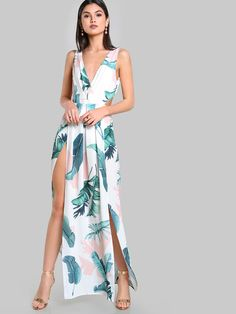 Shop Tied Open Back M-Slit Tropical Dress online. SheIn offers Tied Open  Back M-Slit Tropical Dress & more to fit your fashionable needs.