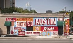 "Austin is a landscape peppered with art. Sometimes in the most unexpected places. From the now-iconic ""Hi, How Are You"" mural created by outsider artist Daniel Johnston to the ""I Love You So Much"" script on the wall of Jo's Coffee that draws crowds dail Environmental Graphics, Environmental Design, Austin Murals, Sxsw 2014, Daniel Johnston, Graffiti, Wall Murals, Wall Art, Wall Collage"