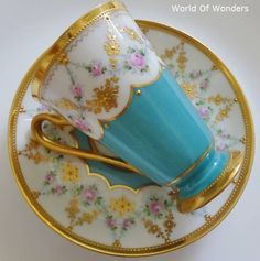 Dresden made in Germany Donato workshop all hand painted cup and saucer - I ~ Rudoobuwanda ~ Zu