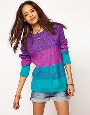 Buy ASOS Bright Boyfriend Space Dye Jumper at ASOS. Get the latest trends with ASOS now. Jumpers For Women, Cardigans For Women, Fashion Clothes Online, Fashion News, Fashion Trends, Color Block Sweater, Passion For Fashion, Knitwear, What To Wear
