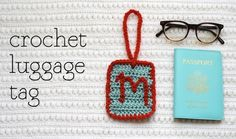 crochet luggage tag.