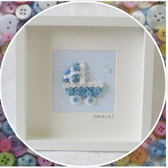 Handmade Personalised New Baby Pram Button door LottieLizzieLou