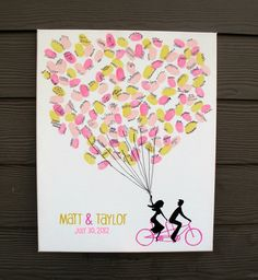 "Bride & Groom on Tandem Bike Holding Thumbprint Balloons on Stretched/Wrapped Canvas - Wedding Guest Sign in - 12"" x 16"""