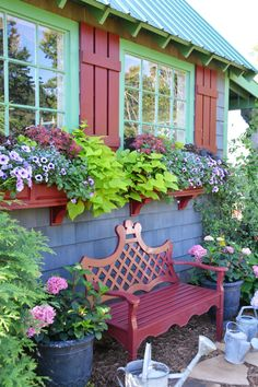 Window Boxes and Flowers Around the Potting Shed | ©homeiswheretheboatis.net #sheshed #garden #windowbox