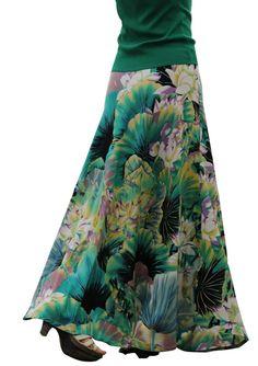 Green Maxi Skirt Women Long Cotton Print Skirt Ruffles Vintage Flower Big Bottom #SHU #Maxi