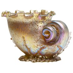 Loetz Conch Shell Vase Candia Papillion ca.1896 | 1stdibs.com