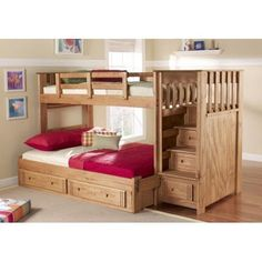 I love this if I ever needed kids to share a room. Built in storage, stairs instead of a ladder, and a full bed on the bottom for them to grown  into: Woody Creek Front Load Twin over Full Bunk Bed with Stairs | www.hayneedle.com