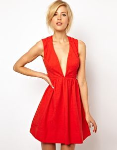 ASOS Deep Plunge Skater in Jacquard Dress- perfect for date night and can easily be dressed up or down