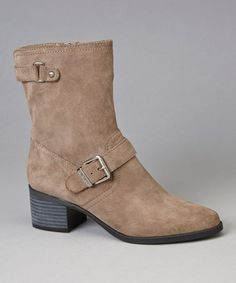 Take a look at this Taupe Suede Junta Ankle Boot by Anne Klein on #zulily today!