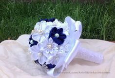 Charming Bridal Fabric Bouquet Wedding by AnieStyleAccessories, £45.00