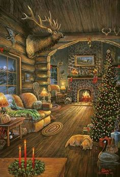 Cabin ~ Christmas Art