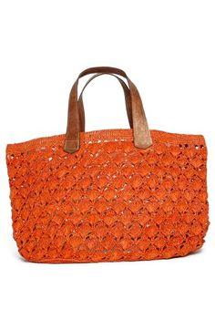 Alternate Image 4 Selected - Mar y Sol 'Valencia' Crocheted Raffia Tote Filet Crochet, Crochet Wallet, Bag Crochet, Crochet World, Crochet Handbags, Crochet Purses, Love Crochet, Orange Bag, Basket Bag
