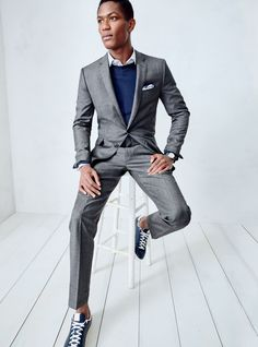 What we do at J.Crew: Ludlow and Crosby suits. To pre-order, call 800 261 7422…
