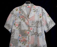Alia Size 12 Floral Polyester Top Collar Button Front Short Sleeve Vest shape $11.50