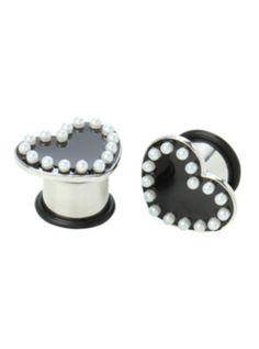 Steel Black Heart Pearl Saddle Plug 2 Pack