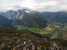 Andalsnes, Norway, with the Romsdalen valley at the upper left. Aug. 2009. -- Photo © copyright by Jack Brauer, Mountain Photographer