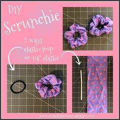 "Create Kids Couture:  DIY Hair Scrunchies using storebought hair elastics OR 1/4"" elastic"