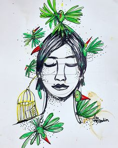 #birdpeople #anamendina #illustration Bird People, My Arts, Gallery, Drawings, Illustration, Artwork, Painting, Stuff To Draw, Dibujo