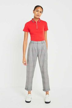Light Before Dark Red Checked Pleated Front Trousers