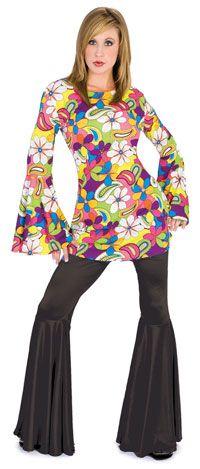 Funny Fashion Flower Power Disco Or Hippie Costume Disco and Hippie Costume… Disco Costume, Costume Craze, 70s Costume, Hippie Costume, 1960s Costumes, Group Costumes, Adult Costumes, 60s Fashion Trends, Disco Fashion