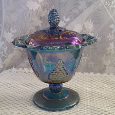 Indiana Carnival Blue Glass Compote Harvest by VisualaromasVintage