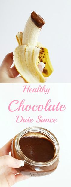 Healthy Chocolate Date Sauce is a naturally sweet indulgent chocolate sauce, for topping on nice cream, dipping fruit, or anything else! Only 3 ingredients! / TwoRaspberries.com