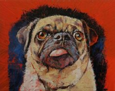 Pug Portrait With Tongue: Source: Etsy.com