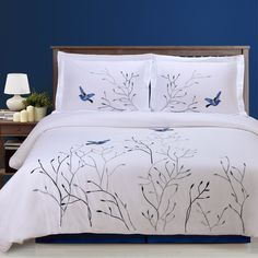 Shop Swallow Embroidered Duvet Cover Set, California King from Florence & Strada at Neiman Marcus Last Call, where you'll save as much as on designer fashions. Bed Duvet Covers, Comforter Sets, Duvet Cover Sets, Modern Duvet Covers, Cotton Duvet, Bed Spreads, Luxury Bedding, Luxury Linens, Bed Sheets