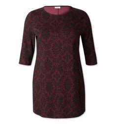 Damen Kleid mit Muster in dunkelrot / schwarz - Mode günstig online kaufen - C&A YESSICA Artikelnummer. 183203-1, Material: 85 % Baumwolle, 13 % Polyamid, 2 % Elasthan
