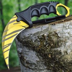 CS:GO Hawkbill Full Tang Fixed Blade Tactical Neck Knife w/ ABS Sheath and Cord - GOLD Tiger Tooth DOPPLER (Limited Edition) ** Read more at the affiliate link Amazon.com on image.