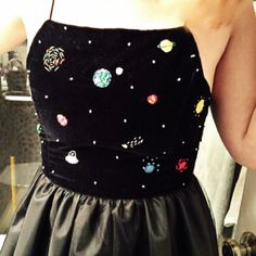 Hand embroidered cosmic party dress