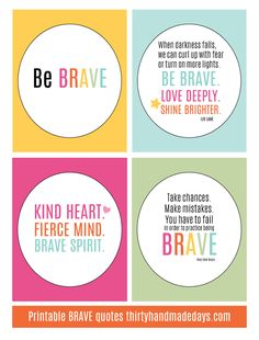 Printable BRAVE Quotes Site with lots of printable quotes. Great Quotes, Me Quotes, Inspirational Quotes, Be You Bravely, Brave Quotes, Printable Quotes, Quotable Quotes, Favorite Quotes, Free Printables