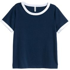 Short T-shirt $9.99 (€9,42) ❤ liked on Polyvore featuring tops, t-shirts, shirts, blusas, clothing - ss tops, jersey shirt, blue t shirt, h&m t shirts, blue shirt and blue tee