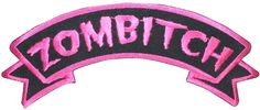 """[Single Count] Custom and Unique (5"""" by 2"""" Inches) Kreepsville Nametag Badge """"Zombitch"""" Iron On Embroidered Applique Patch {Pink and Black Colors}"""