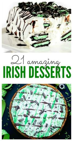 Cookies, Cakes, Treats, and Snacks for St. Patrick's Day Parties and Celebrations! patricks day party desserts 21 Amazing Irish Desserts that are Simple & Easy to Make! Irish Appetizers, St Patrick's Day Appetizers, Mousse, Irish Dinner, St Patrick Day Treats, St Patricks Day Food, St Patricks Day Deserts, Saint Patricks, Irish Recipes