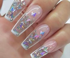 Glow Nails, Polygel Nails, Dope Nails, Swag Nails, Grunge Nails, Manicure, Clear Acrylic Nails, Bling Acrylic Nails, Acrylic Nails Coffin Short