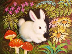 Vintage K Chin Enchanted Forest Series Lithograph Print, Snowy White… Art Et Illustration, Illustrations, Lapin Art, Rabbit Art, Woodland Creatures, Art Wall Kids, Wall Art, Animation, Vintage Postcards