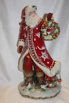 """NEW MIB Fitz & Floyd Town & Country 18"""" Red Ceramic Santa Claus Figure Brand New"""