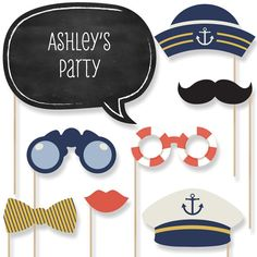 The perfect photo booth begins with fabulous photo booth props. Our printed and cut kit will help you easily create fun party photos at your baby shower or birthday party. This Ahoy - Nautical party photo booth props kit come with 20 pieces, one of which Baby Shower Photo Booth, Baby Boy Shower, Baby Shower Themes, Shower Ideas, Nautical Bridal Showers, Nautical Party, Nautical Wedding, Wedding Dj, Nautical Photo Booth