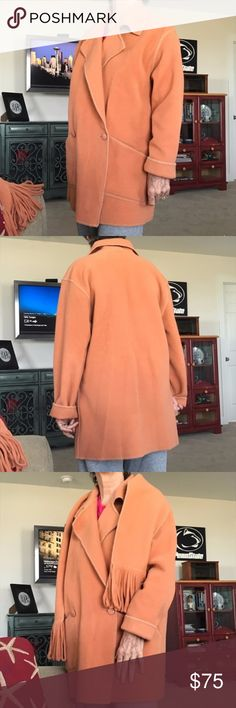 Canadian Vintage Rusty Peach Colored Wrap Coat One of a kind trench coat style Zara inspired jacket. Purchased from boutique in the 90s. Very similar to Zara coat -- Not Zara brand! Honey apricot in color. Size 10 but oversized and can fit up to size 14. Includes matching scarf. Very warm. Can be worn late fall / early spring.  Linda Lundstrom is a Canadian designer! linda lundstrom 3002060. linda lundstrom Jackets & Coats