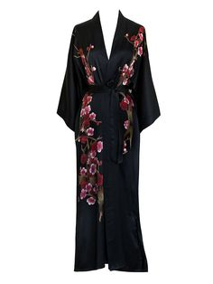 Old Shanghai Women's Silk Kimono Long Robe - Handpainted - Cherry Blossom Black at Amazon Women's Clothing store: Plus Size Bathrobes Long