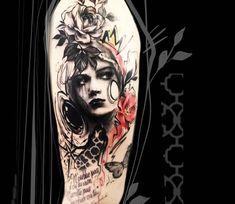 Woman Face tattoo by Carolina Caosavalle