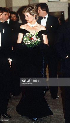Princess Diana In Vienna, Austria In A Midnight Blue Velvet Evening Dress Designed By Fashion Designer Victor Edelstein