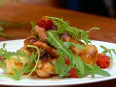 Crispy and Sticky Chicken Thighs with Squashed New Potatoes and Tomatoes