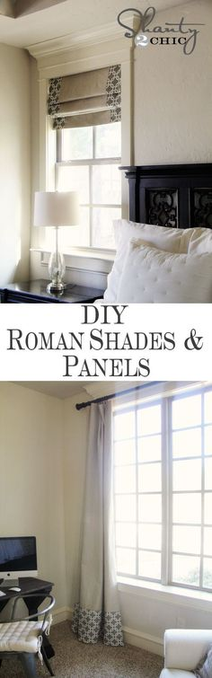 diy roman shades - use drop cloth and purchase a table cloth, panels or bed sheet with your favorite pattern and add to the drop cloth....very inexpensive and all of your windows can be covered throught you home.