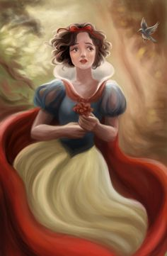 A rough painting of Snow White! I find my Romance in Dreams Disney Pixar, Walt Disney Princesses, Arte Disney, Disney Fan Art, Disney Animation, Pocket Princesses, Snow White 2, Snow White Disney, Deviant Art