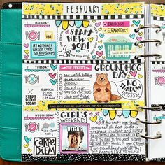 Quirky Heart's decorated planner using doodles by Kate Hadfield